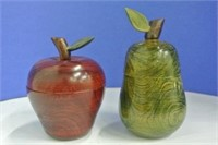 Turned Wooden Fruit Trinket Boxes