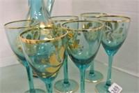 Retro Blue Glass Decanter Set