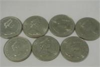 7 Canadian 1980's Dollar Coins