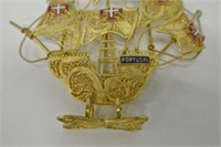 Gold Toned Portugal Sail Boat
