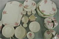 "Vintage ""Apple Blossom"" Pattern Dish Set"