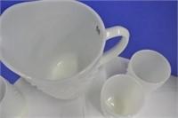 Milk Glass Hob Nail Pitcher Set