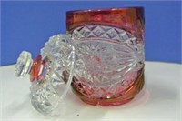 Lidded Pressed Glass Ruby Jar