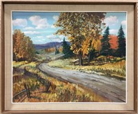 C. THOMAS UNTITLED AUTUMN ROAD OIL ON BOARD