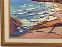 "H.V. VICK ""BEACH BREAKERS"" OIL ON BOARD"