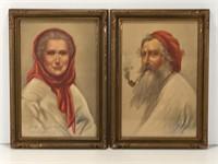 PAIR: ORIGINAL PASTEL PORTRAITS