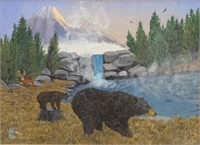 DAVID P. RICKARD BEAR & MOUNTAIN ACRYLIC ON BOARD