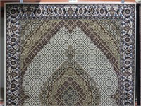 NEW IVORY FIELD MACHINE MADE PERSIAN AREA CARPET