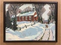 "TOM ROBERTS ""RED SCHOOL HOUSE"" SILKSCREEN"