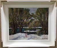 FLO CAMPBELL UNTITLED WINTER RIVER OIL ON BOARD