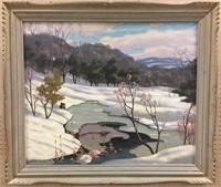 """GEORGE THOMSON """"PARK IN WINTER"""" OIL ON CANVAS"""