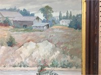 STUART CLIFFORD SHAW RIVERSIDE FARM OIL ON BOARD
