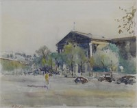 ILLEGIBLY SIGNED 1951 PARIS STREET WATERCOLOUR