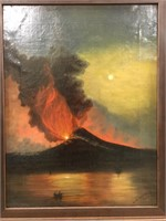 A.M. DECEV? 1906 ERUPTING VOLCANO OIL ON CANVAS