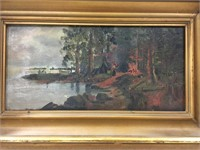 EARLY UNSIGNED CAMPING SCENE OIL ON BOARD