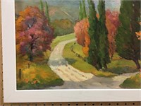 "M. KING ""CALEDON ROAD IN AUTUMN"" OIL ON BOARD"