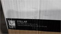 Loft Stellar Modern Side Table - Wood/Glass - NEW