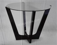 Loft Stellar Modern Side Table - Wood/Glass - NEW