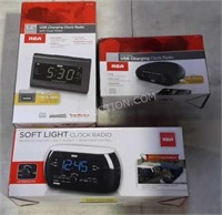 Box Lot of RCA Usb Charging Clocks - NEW