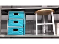 Lot of Storage Bins and Stool