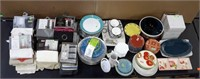 Lot of Assorted Curtains, Dishware + More
