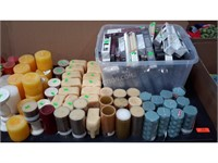 Lot of Assorted Candles, Holders, Rocks
