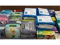 Lot of Assorted Lunch Bags, Diapers, Tampons