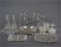 Group of Clear and Press Glass Table Server Pieces