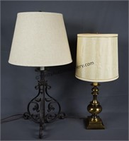 Cast Iron and Bronze Accent Table Lamps