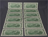 12 2009 Consecutive Number Two Dollar Bills