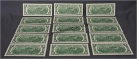 15 2013 Consecutive Number Two Dollar Bills