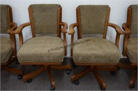 Set of 4 Olive Brown Game Table Poker Chairs