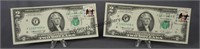 2 1976 Consecutive Postage Marked Two Dollar Bills