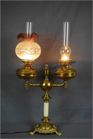 Antique Electrified Victorian 2 Light Parlor Lamp