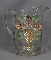 Antique Colorized Pressed Glass 48oz. Pitcher