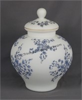 Large Blue Floral White Satin Glass Apothecary Urn