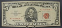 1963 Red Seal Five Dollar Bill