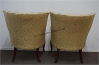 French Victorian Style Barrel Tufted Parlor Chairs