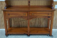 Knotty Pine Farmhouse China Hutch by Broyhill