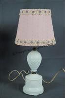 Vintage Hobnail Milk Glass Boudoir Lamps