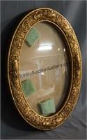 Vintage Convex Bubble Glass Gold Guilt Wood Frame