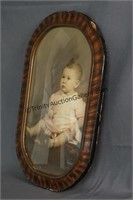 Vintage Baby Photo in Convex Bubble Glass Frame