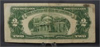 1928 G Red Seal Two Dollar Bill