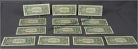 13 1969 - 1988 Star Note One Dollar bills