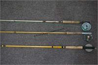 3 Vintage Fly Fishing Rod and Reels