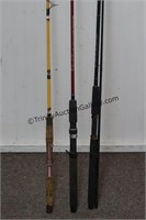 3 Bait Cast Bass and Crappie Fishing Rods