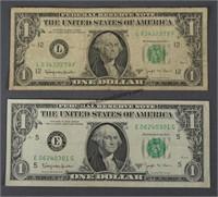 2 1963-B Joseph Barr One Dollar Bills