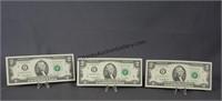 3 2013 Consecutive Star Note Two Dollar Bills