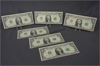 6 1977 Consecutive Number One Dollar Bills