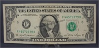 1981 Error Offset Double Print One Dollar Bill